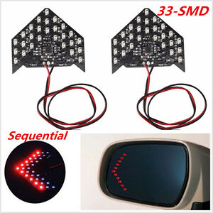 Red 2pcs 33 Smd Car Rear Side Mirror Sequential Led Arrows Turn Signal Lights