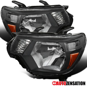 For 2012 2015 Toyota Tacoma Black Headlights Head Lamps Left Right Pair