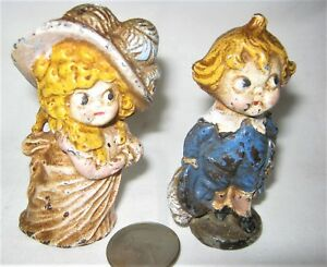 Antique Hubley Pa Usa Victorian Boy Girl Cast Iron Desk Toy Statue Paperweight