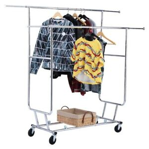 Double Commercial Collapsible Clothing Rolling Garment Rack Adjustable Length Us