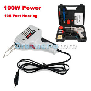 Diy 220v 100w Electric Welding Soldering Iron Gun Solder Tool Set Kit Case 12pcs