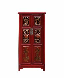Chinese Red Golden Carving Motif Slim Narrow Cabinet Cs3457