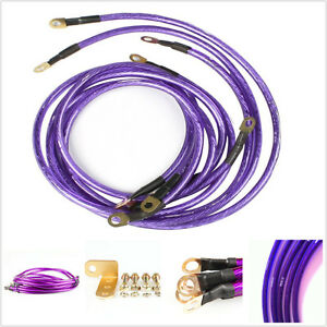 Car Truck Battery Electronic Copper Ground Earth Wire Cable System Kit Purple