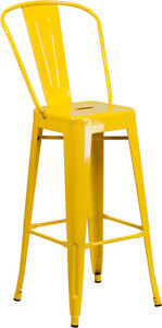 Brand New Yellow Commercial Outdoor Metal Barstool Restaurant Furniture Seating