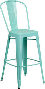 New Green Mint Commercial Outdoor Metal Barstool Restaurant Furniture Seating