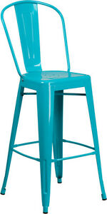 New Outdoor Blue Teal Commercial Metal Barstool Restaurant Furniture Seating