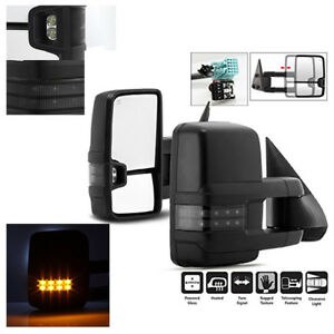 Chorme Towing Mirrors Power Heated Led Signals For Chevy Silverado Sierra 03 06