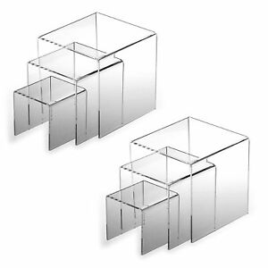 2pk Clear Acrylic Fixture Riser Displays Book Cases Showcase Jewelry Stands