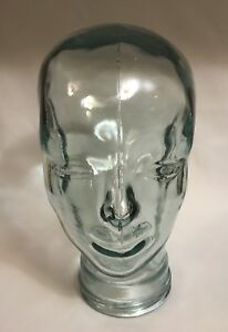 Large Glass Human Head Form Mannequin For Wigs Hats Art Deco Display