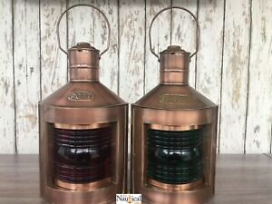 Antique Copper Finish Port Starboard Lanterns Ship Oil Lamp Nautical Light