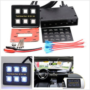 Car Off road Dc12 24v 6 gang Capacitive Touch Screen Led Switch Panel Universal