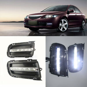 1 Set White Led Daytime Running Lights Drl Fog Lamps For Mazda 6 2005 2008