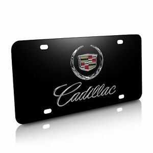Cadillac Double 3d Logo Black Stainless Steel License Plate