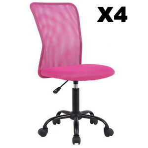 Set Of 4 Mesh Office Chair Computer Mid back Task Swivel Seat Ergonomic Chair