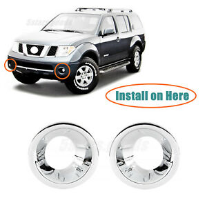 Chrome Front Fog Light Lamp Molding Covers Trims For 2005 2007 Nissan Pathfinder
