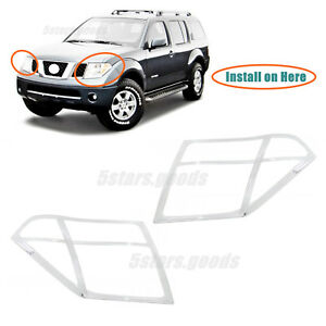 Chrome Front Headlight Lamp Molding Covers Trims For 2005 2007 Nissan Pathfinder