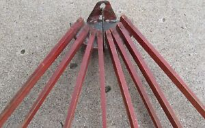 Antique Wooden Wall Mount Drying Rack 8 Spindles Old Desirable Red Paint