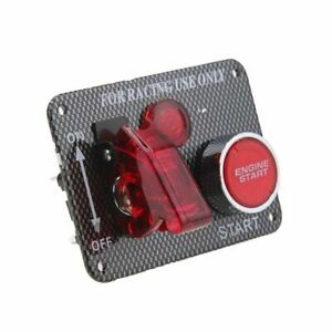 Car Ignition Switch Panel Engine Start Push Button Carbon Fiber Style Us Stock