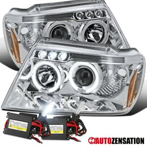 99 04 Jeep Grand Cherokee Led Drl Halo Projector Clear Headlights 6000k Hid Kit