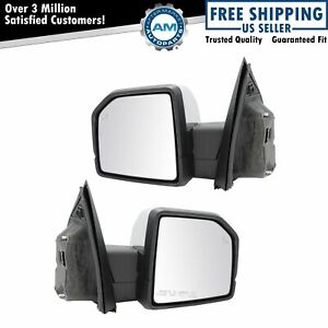 Mirror Power Folding Heated Memory Signal Blind Spot Puddle Chrome Pair For Ford