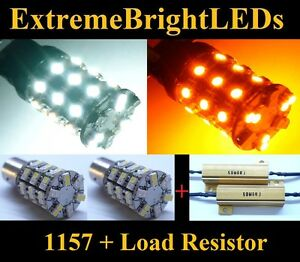 Two 1157 2357 Amber White Switchback Dual Colour Led Lights 2 Load Resistors
