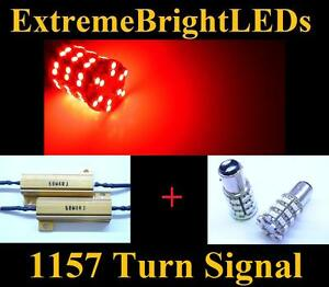 Two Red 1157 2357 60 smd Led Turn Signal Lights 2 Load Resistors