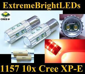 Two Red 50w 10x Cree Xp e 1157 2357 Turn Signal Lights 2 Load Resistors