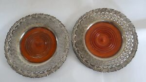 Rare Antique Large Bailey Banks Biddle Sterling Silver Wood Bottle Coasters