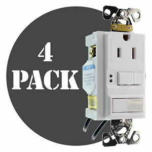 Hubbell Gfspst15wz Combo Gfci Outlet 1p Switch 15a 120v White 4 pack