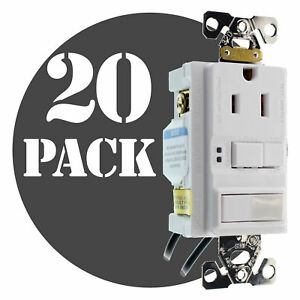 Hubbell Gfspst15wz Combo Gfci Outlet 1p Switch 15a 120v White 20 pack