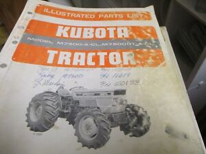 Kubota M7500 a cl M7500t a cl Tractor Parts List Manual