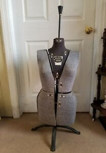 Vintage 1950s Sally Stitch Dress Form Mannequin Size B Adjustable Stand