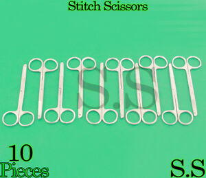 10 Pcs Littauer Spencer Stitch Scissors 4 5 Surgical Suture Veterinary Tools
