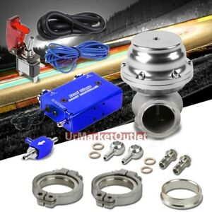 Blue Dual Stage Electronic Mt Turbo Charger Boost Control silver Ext Wastegate