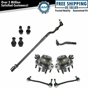 10 Piece Steering Suspension Kit Wheel Bearings Tie Rods Sway Bar End Links