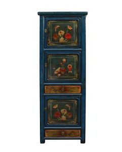 Chinese Vintage Blue Base Colorful Flower Graphic Tall Storage Cabinet Cs3489