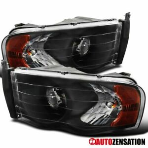 For Dodge Ram 2002 2005 1500 2003 2005 2500 3500 Black Projector Headlights Pair