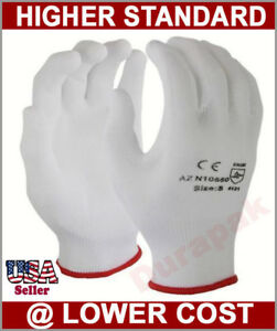 48 Pairs Nylon Industrial Gloves W White Polyurethane pu Coating Xs S To Xl