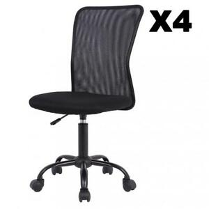 1 2 3 4 Pcs Mid back Mesh Office Chair Computer Task Swivel Seats Black pink