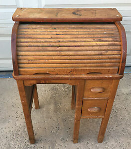 Childrens Childs Roll Top Desk Tiger Oak Antique Darling Solid Wood 1920 S 424
