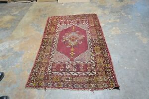 Antique Hand Knotted Wool Turkish Melas Oushak Rug Tribal Distressed