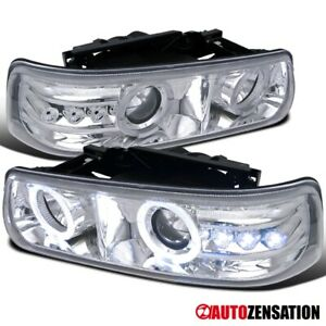 For Chevy 99 02 Silverado 00 06 Tahoe Led Halo Projector Headlights Left Right