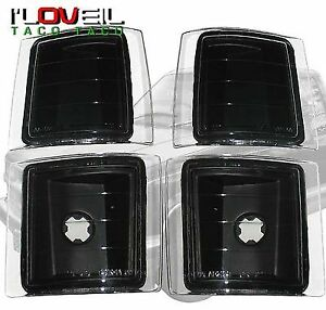 94 95 96 97 98 Chevy C10 Ck 1500 2500 4 Piece Black Housing Corner Lights Lamps