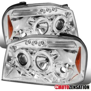 For 2001 2004 Nissan Frontier Clear Led Drl Dual Halo Projector Headlights Lamps