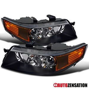 For 2004 2005 Acura Tsx Black Clear Lens Projector Headlights Lamps Pair Amber