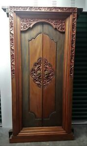 Incredible Pair Of Antique Carved Balinese Temple Doors