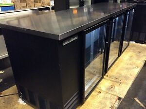 True Tbb 4g hc ld 90 Commercial 3 Glass Door Back Bar Refrigerator