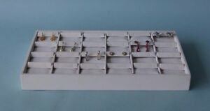 24 Section 15 lx8 w White Leather Earring Display Tray Display Case Stand Ftt24w
