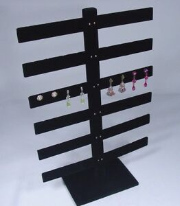 6 Tier 15 h X 10 w Black Velvet 24 Pairs Earring Jewelry Display Stand 252 6b