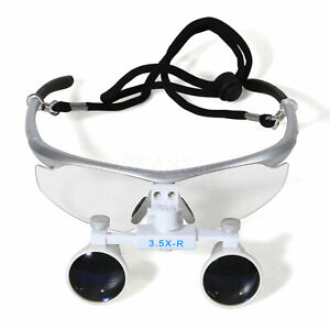 Dental 3 5x Binocular Loupes Medical Surgical Glasses Magnifying Loupe Silver